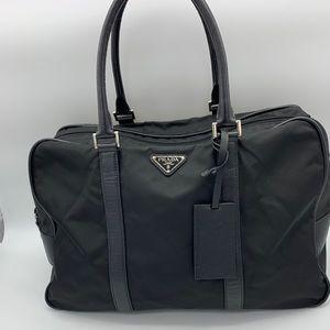 Prada black Nylon/ leather travel bag / Gym Bag